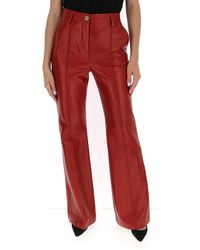 Gucci Plongé Leather Flare Pants - Red
