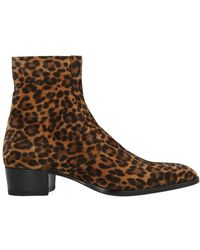 Saint Laurent Wyatt Leopard Print Boots - Brown