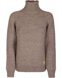 Tory Burch Raglan Turtleneck Sweater - Brown