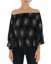 Sonia Rykiel Off-shoulder Embellished Blouse - Black