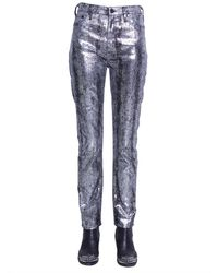 McQ Metallic High-rise Slim-leg Jeans Silver