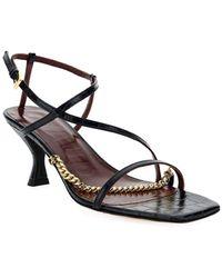 STAUD Chain Link Ankle Strap Sandals - Black