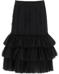 Moschino Tulle Flounces Satin Skirt - Black