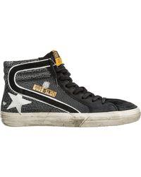 Golden Goose Deluxe Brand Slide Crackle Hi-top Suede Sneaker - Black