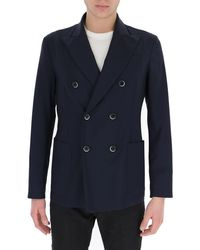 Barena Double Breasted Tailored Suit Jacket - Blue