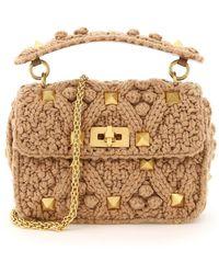 Valentino Garavani Roman Stud Medium Top-handle Bag - Natural