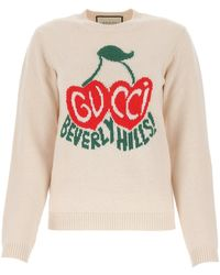 Gucci Cherry Intarsia Knitted Jumper - White