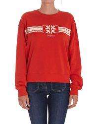Pinko Logo Printed Crewneck Sweatshirt - Red