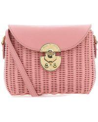 Miu Miu Small Raffia Crossbody Bag - Pink