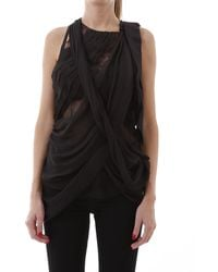 Prada Layered Draped Top - Black