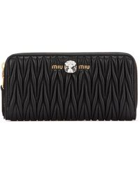 Miu Miu Matelassé Zipped Wallet - Black