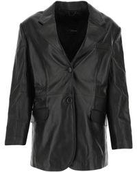 Manokhi Jared Leather Blazer - Black
