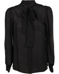 MICHAEL Michael Kors Georgette Tie-neck Blouse - Black