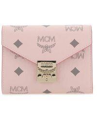MCM Printed Canvas Wallet Nd - Pink