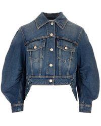 Alexander McQueen Cocoon Sleeve Denim Jacket - Blue