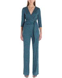 Diane von Furstenberg Geometric-print Jumpsuit - Blue