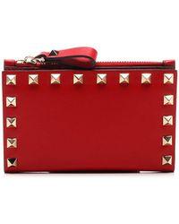 Valentino Garavani Garavani Rockstud Zipped Wallet - Red