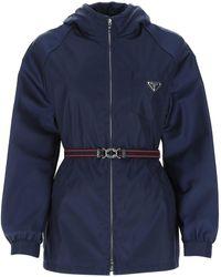 Prada Belted Hooded Jacket - Blue