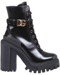 Dolce & Gabbana Hi-trekking Boots In Brushed Calfskin - Black