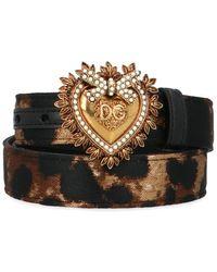 Dolce & Gabbana Leopard Print Heart Buckle Belt - Multicolour
