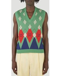 Gucci GG Argyle Knit Sweater - Green