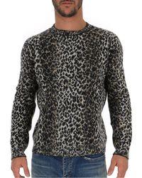 Saint Laurent Leopard Knitted Jumper - Multicolour