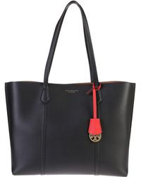Tory Burch Perry Triple Black Leather Tote Bag