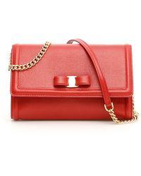 Ferragamo Grain Calfskin Vara Minibag - Red