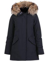 Woolrich Hooded Fur Trimmed Coat - Blue