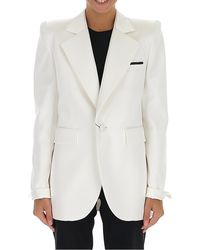 Saint Laurent Oversized Collar Classic Satin Blazer - White