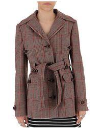 Miu Miu Belted Check Coat - Brown