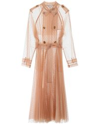 RED Valentino Point D'esprit Pleated Trench Coat - Pink