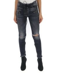 Unravel Project Lace-up Fastening Skinny Jeans - Blue