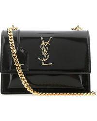Saint Laurent Sunset Leather Medium Shoulder Bag - Black