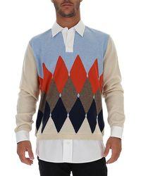 Ballantyne Layered Diamond Patterned Sweater - Blue