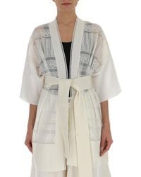 Ballantyne Crotchet Belted Kimono - White