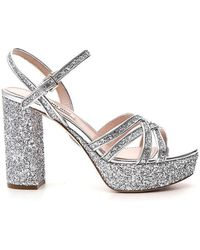 c4c3698e6cc Miu Miu - Glittered Leather Platform Sandals - Lyst