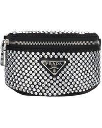 Prada Crystal Embellished Mini Pouch - Black