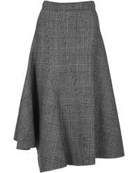 JW Anderson Flared Houndstooth Midi Skirt - Gray
