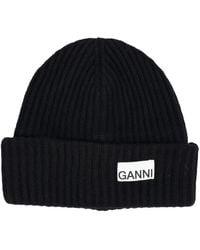 Ganni Logo Patched Rib-knitted Beanie - Black