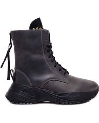 Philosophy Di Lorenzo Serafini Lace Up Vintage Effect Ankle Boots - Black