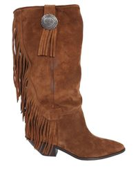 Saint Laurent Texano High Boots With Fringes - Brown