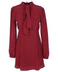 Saint Laurent Tie-neck Dress - Red