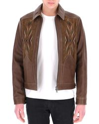 Etro Embroidered Leather Jacket - Brown