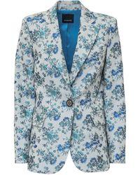 Pinko Estroso Floral Brocade Blazer - Blue