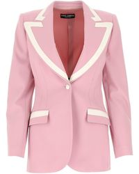 Dolce & Gabbana Woolen Fabric Single-breasted Jacket - Pink
