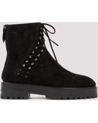 Alaïa Studded Lace Up Ankle Boots - Black