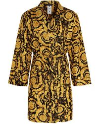 Versace Barocco Printed Dressing Gown - Yellow