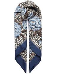 Ferragamo Gancini Logo Floral Print Scarf - Blue