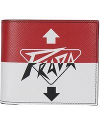Prada Logo Printed Bifold Wallet - Red